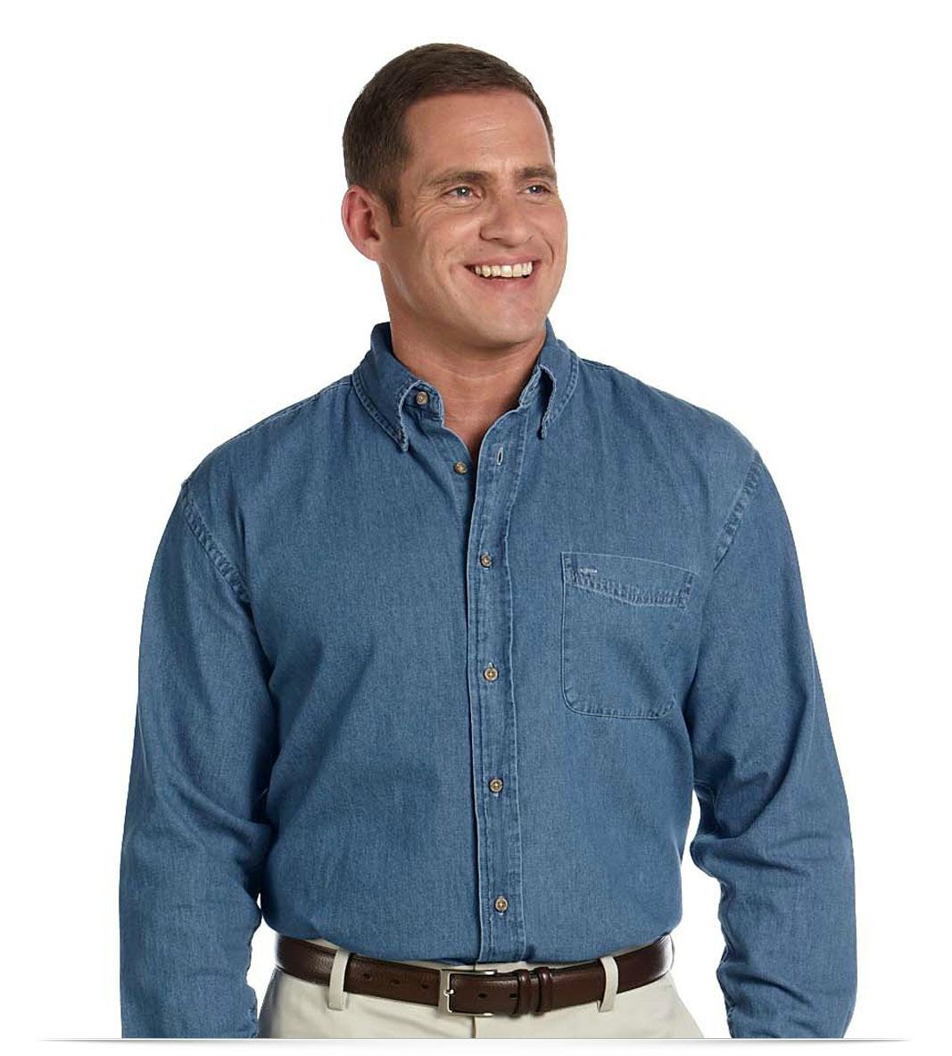 4577d4bfa Harriton Custom Logo Denim Shirt - Design Denim Shirts Online