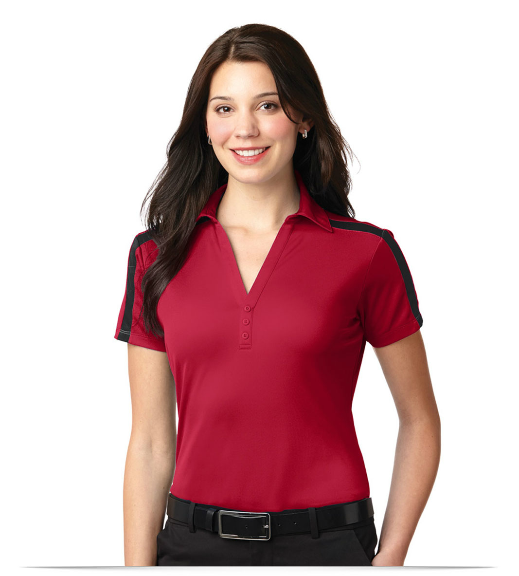 Design Embroidered Port Authority Ladies Dri Fit Stripe Polo Shirt