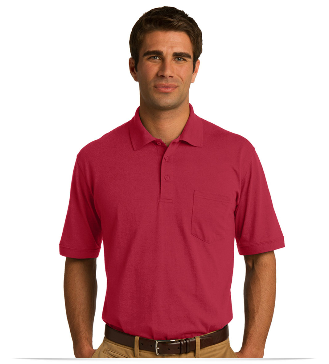64f4e06fb4a Design Embroidered Port and Company Jersey Knit Pocket Polo online