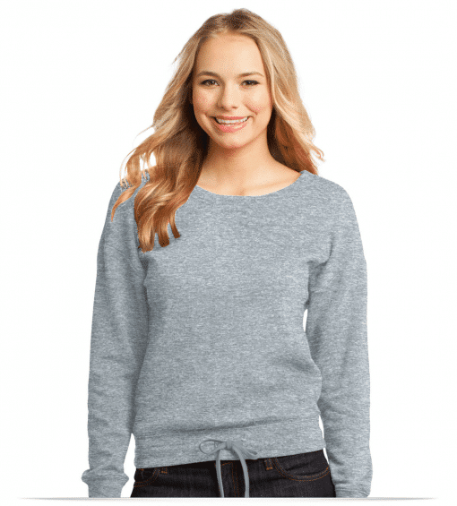 Customize Juniors Core Fleece Wide Neck Pullover