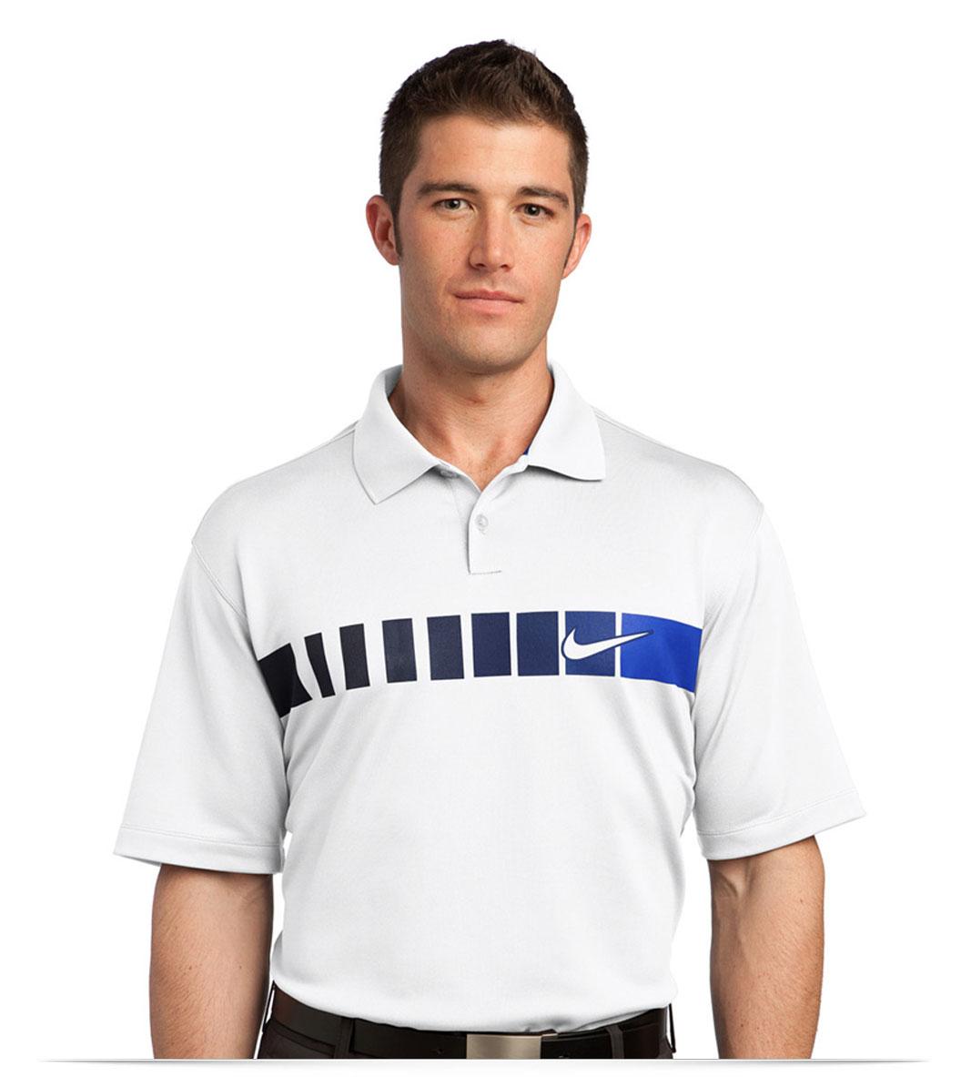 Custom Logo Nike Golf Dri-FIT Chest Stripe Print Polo