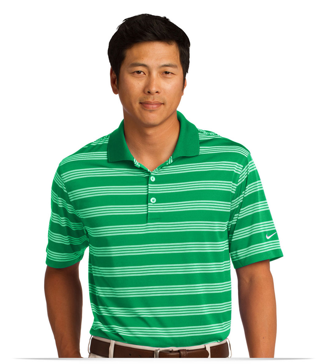 Design embroidered nike golf dri fit tech stripe polo online for Custom adidas dri fit shirts