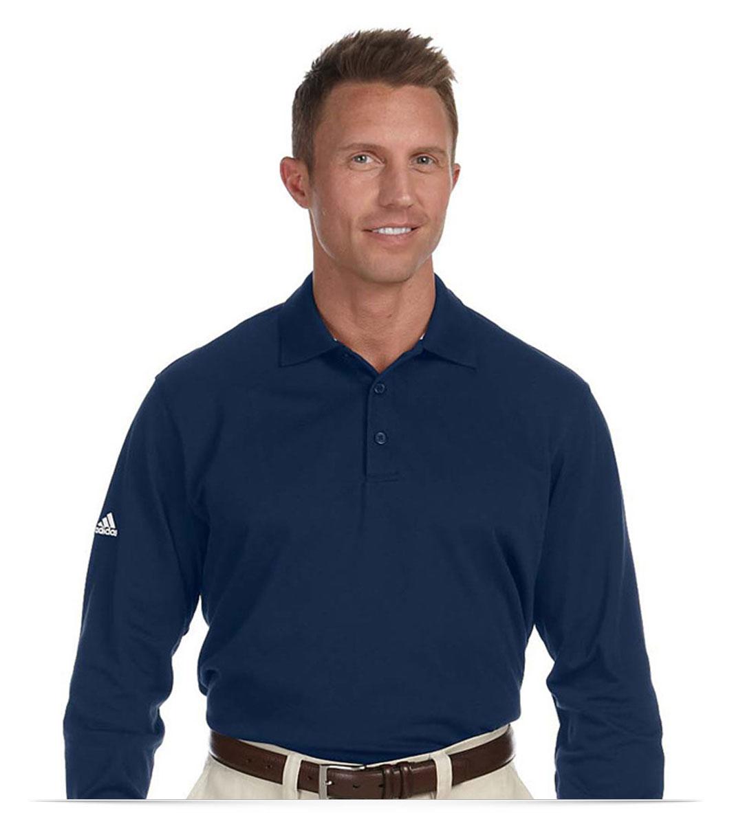 Custom Adidas Golf Mens Long Sleeve Polo