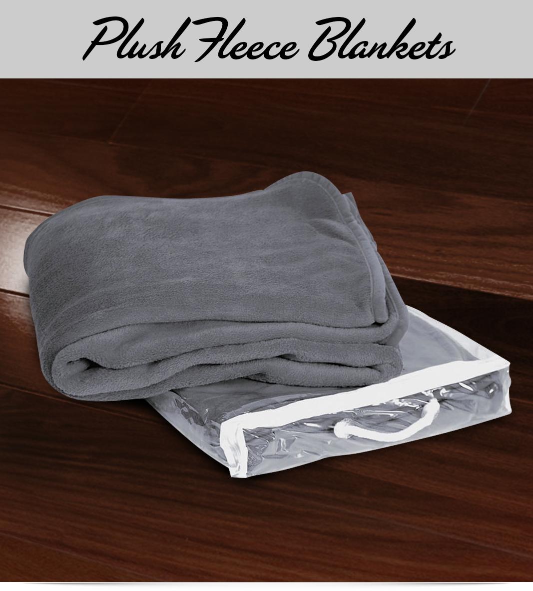 Custom Grey Plush Fleece Blanket