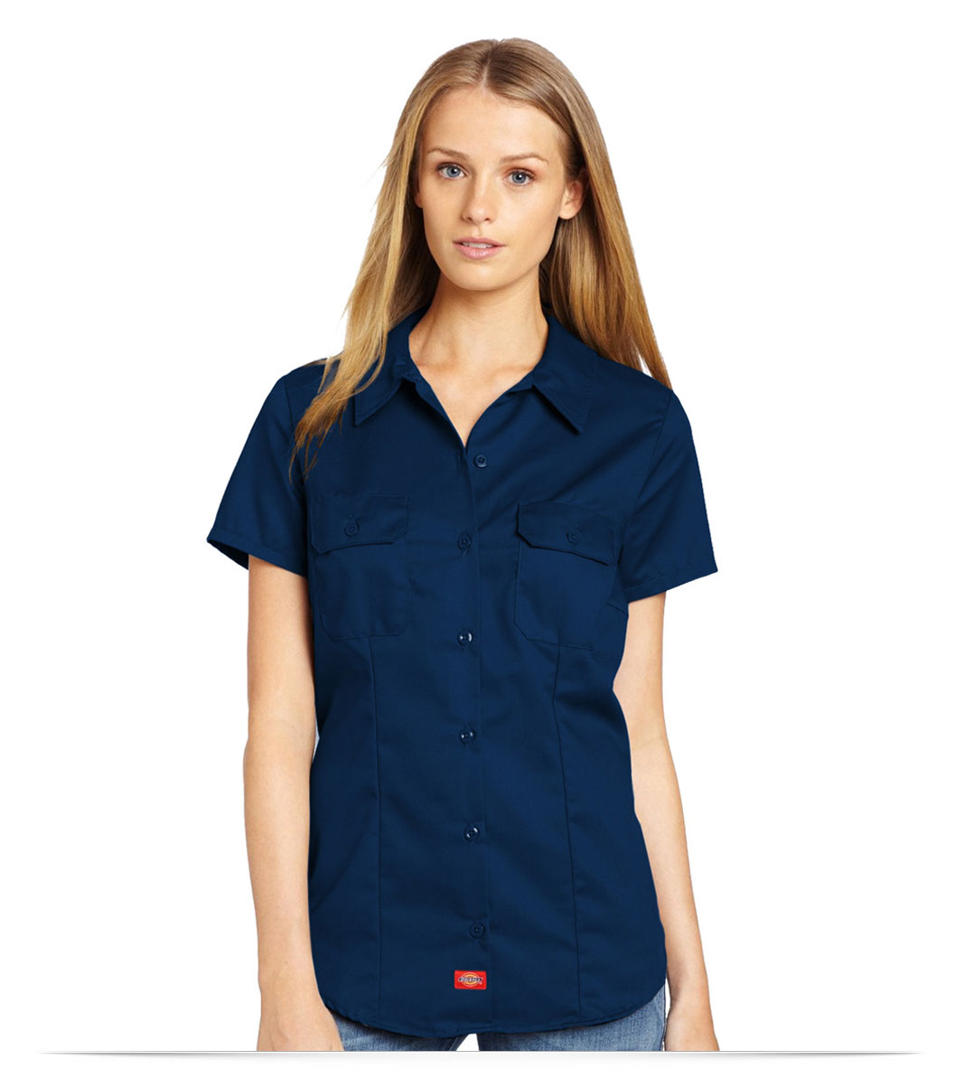 Design embroidered dickies womens s s work shirt online at for Embroidered dickies work shirts