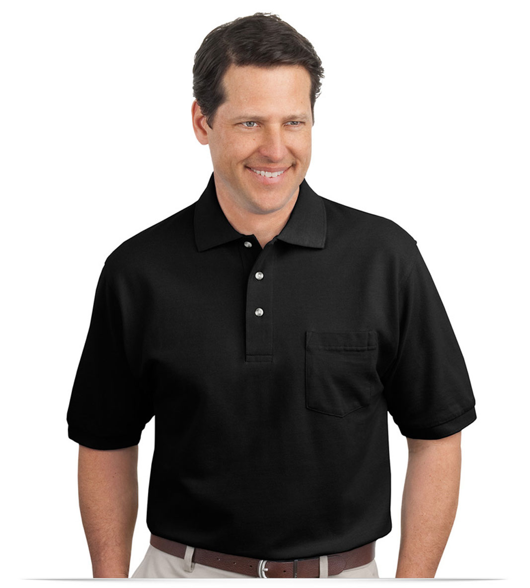 Design embroidered pique knit pocket polo shirt online at for Embroidered work shirts no minimum order