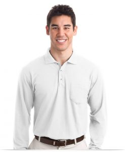 Personalized Long Sleeve Polo Shirt with Pocket