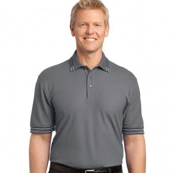 Custom Logo Men's Easy Care Tipped Polo