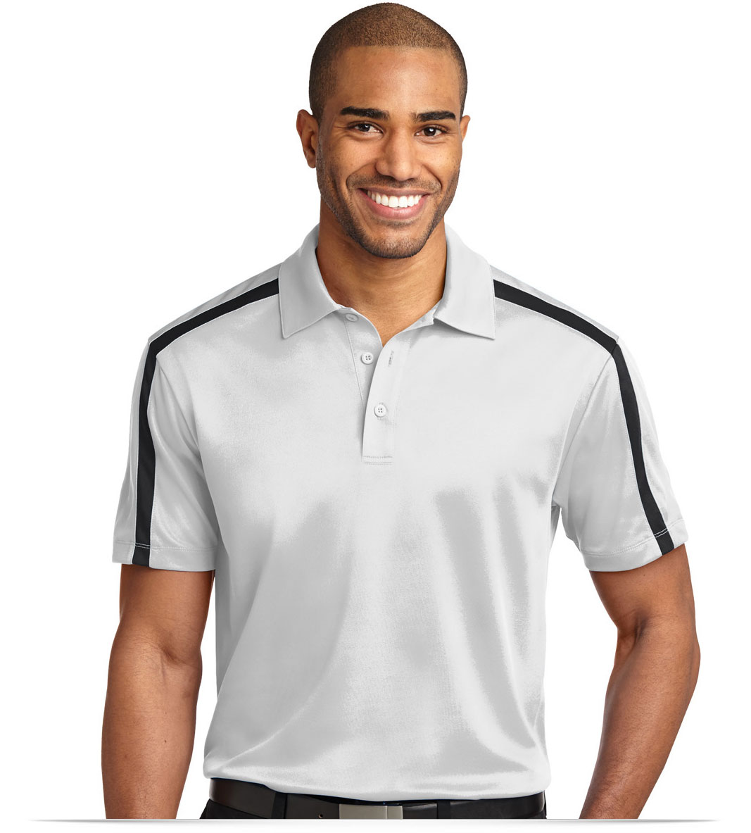 Design embroidered customized dri fit stripe polo shirt online for Custom adidas dri fit shirts
