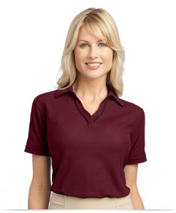 Embroidered Ladies Easy Care Tipped Polo