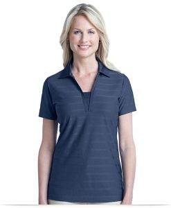 Embroidered Ladies Horizontal Pattern Polo shirt