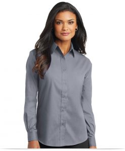 Embroidered Ladies Long Sleeve Value Poplin Shirt