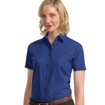 Customize Ladies Short Sleeve Value Poplin Shirt