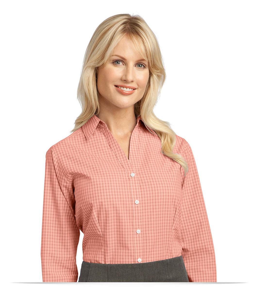 Customize Logo Ladies Plaid Easy Care Shirt