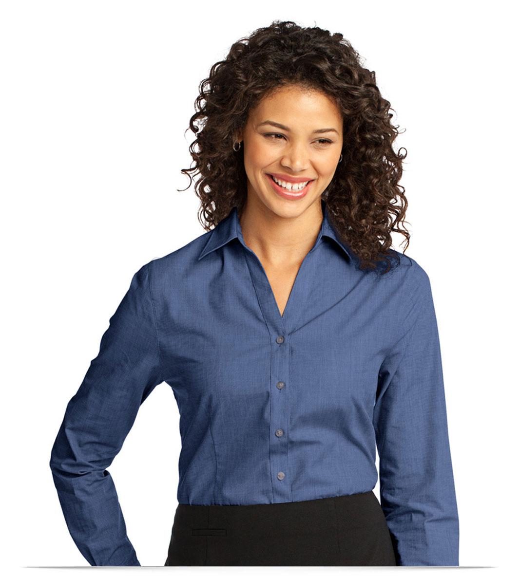 Customize Logo Ladies Easy Care Shirt