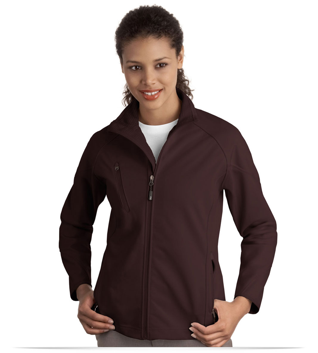 Embroidered Ladies Textured Soft Shell Jacket