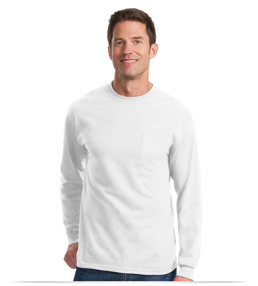 Personalized Logo on 100% Cotton Long Sleeve T-Shirt with Pocket