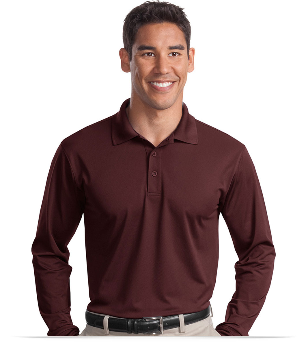 Design embroidered long sleeve dri wick polo shirt online for Maroon dri fit polo shirt
