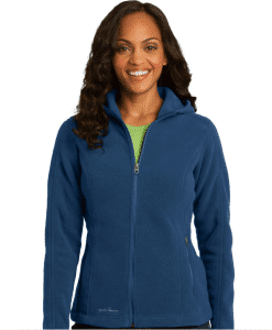 Custom Logo Eddie Bauer Ladies Hooded Full-Zip Fleece Jacket