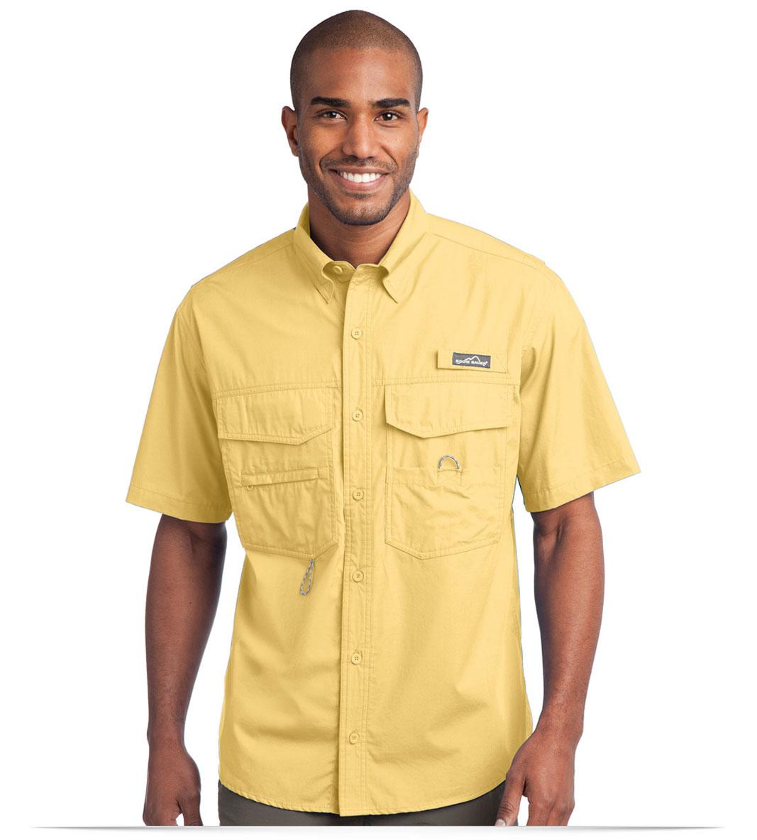 Design embroidered eddie bauer short sleeve fishing shirt for Embroidered work shirts no minimum order
