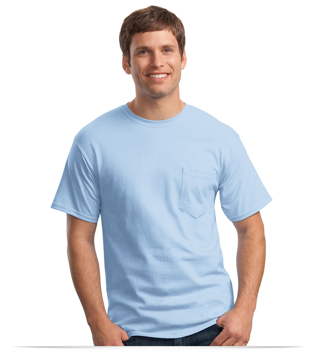 Personalized Hanes Cotton T-Shirt with Pocket