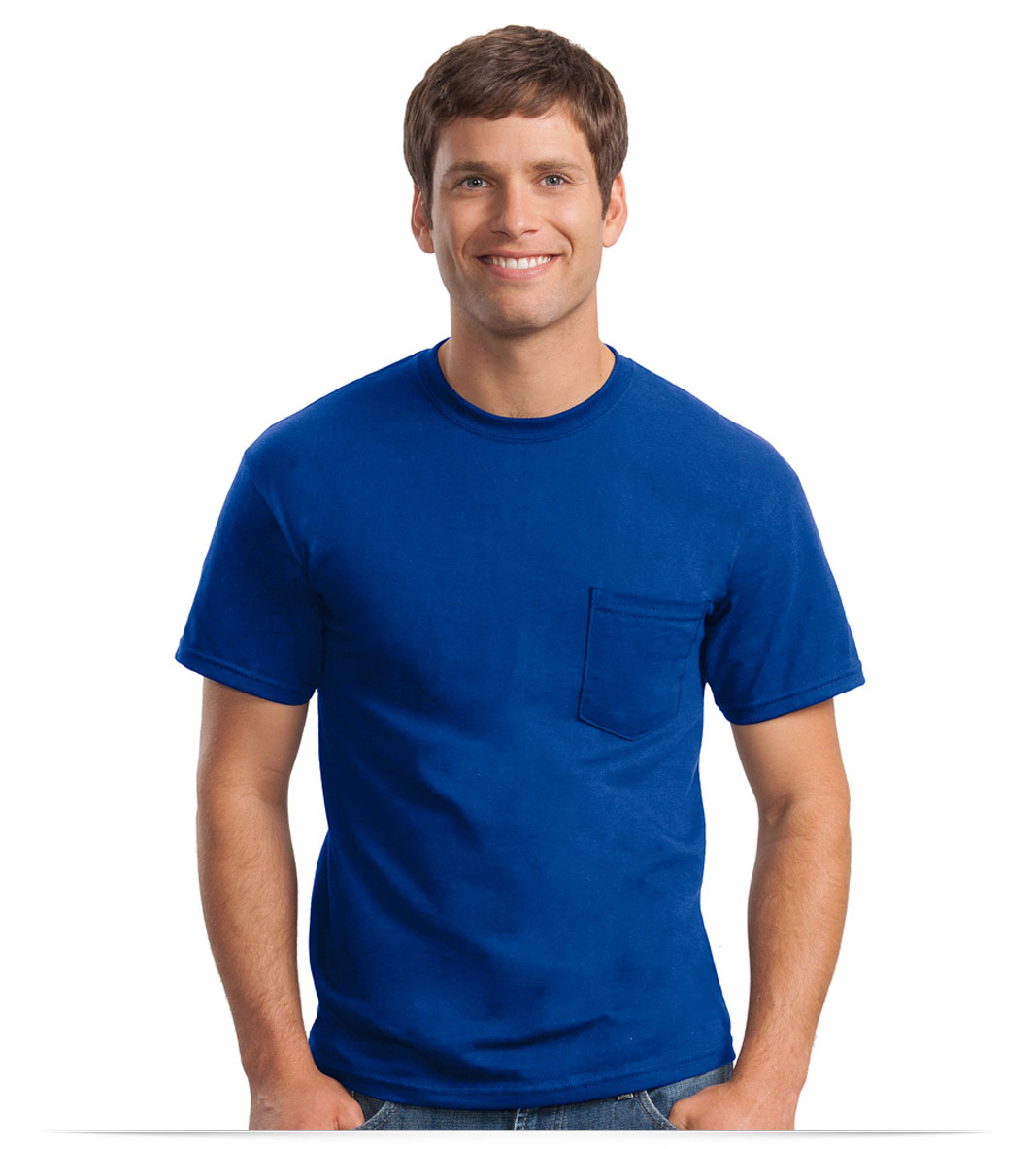 Custom Embroidered Gildan 50/50 Poly Pocket T-Shirt