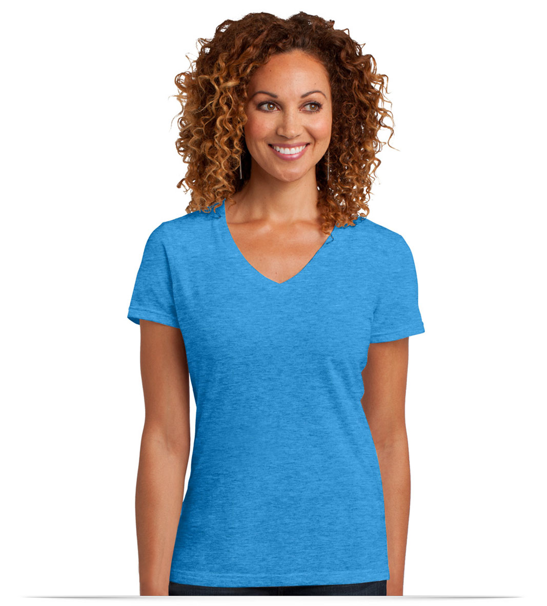 Embroidered District Made Ladies Perfect Blend V-Neck Tee