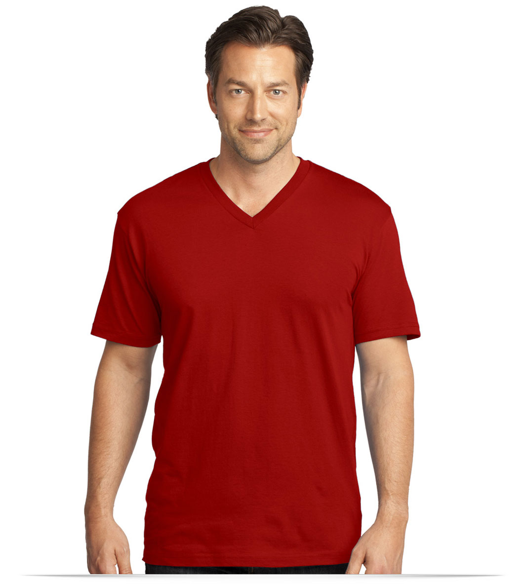 Embroidered District Made Men's Perfect Weight V-Neck Tee