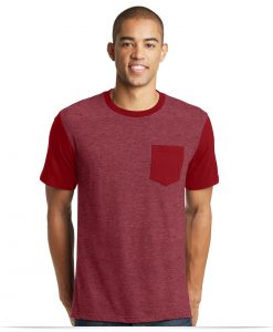 Personalized District Men's Tee Contrast Sleeves & Pocket
