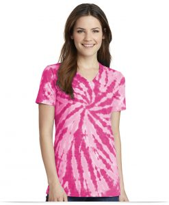 Embroidered Port and Company Ladies Tie-Dye V-Neck Tee