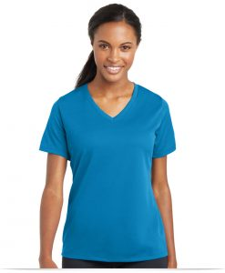 Customize Sport-Tek Ladies RacerMesh V-Neck Tee