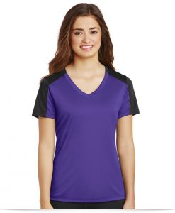 Personalized Sport-Tek Ladies Sleeve-Blocked V-Neck Tee