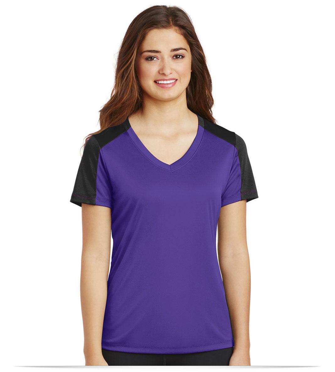 Personalized Sport-Tek Ladies Sleeve-Blocked V-Neck Tee