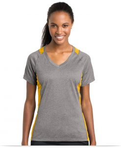 Embroidered Sport-Tek Ladies Colorblock V-Neck Tee