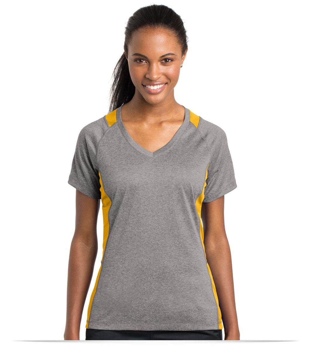 Embroidered Sport-Tek Ladies Colorblock V-Neck Tee