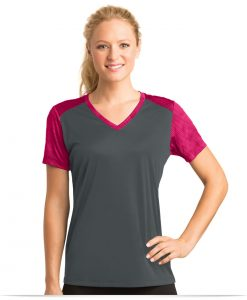Customize Sport-Tek Ladies Colorblock V-Neck Tee