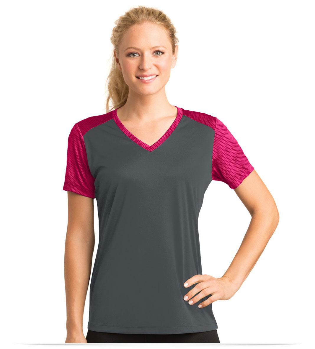 Customize Sport-Tek Ladies Colorblock V-Neck Tee