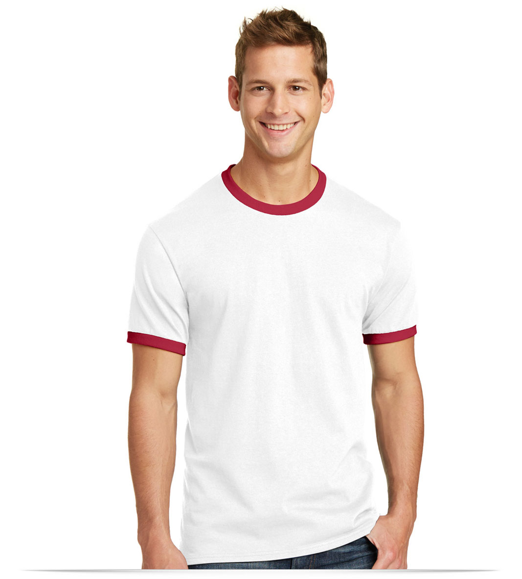 Customize Port and Company 5.4-oz 100% Cotton Ringer Tee