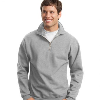 Custom Logo on Jerzees-14 Zip Sweatshirt Cadet Collar