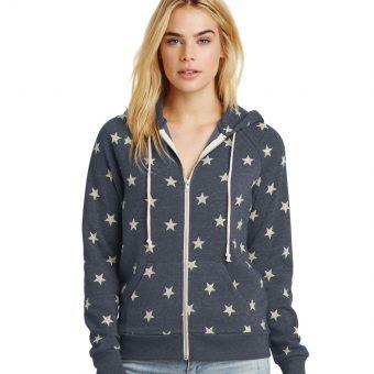 Personalized Alternative Ladies Camo Fleece Zip Hoodie