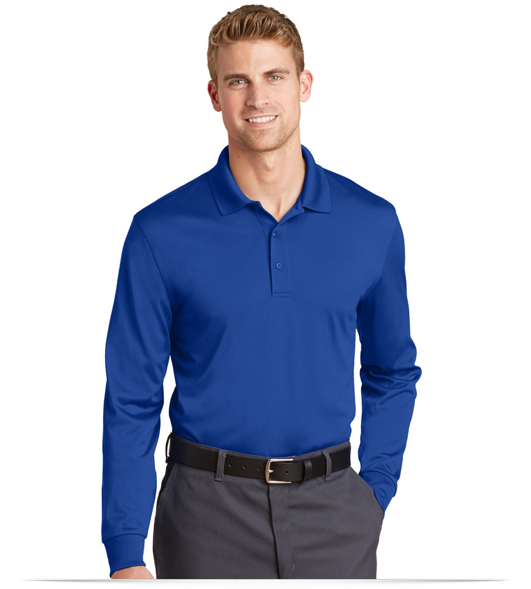 Embroidered Corner Stone Snag-Proof Long Sleeve Polo