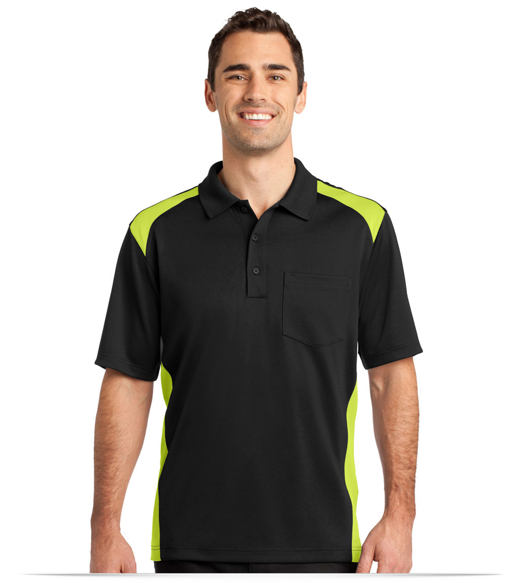 Customize Corner Stone Snag-Proof Colorblock Pocket Polo