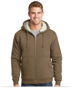 Embroidered Corner Stone Sherpa-Lined Hooded Fleece