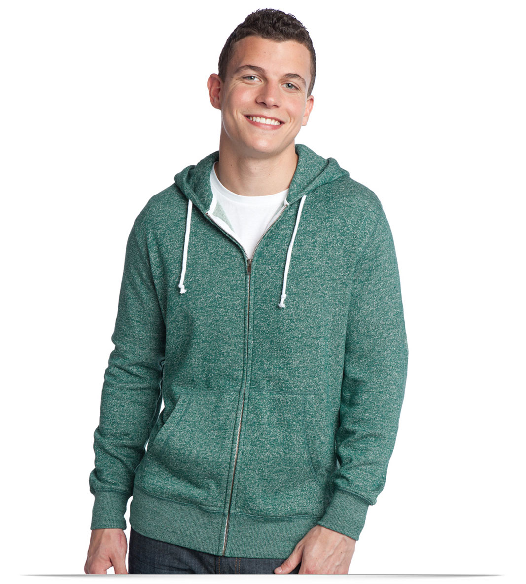 Customize Distric Young Mens Marled Full-Zip Hoodie