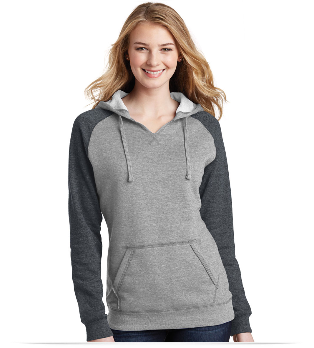 Customize District Lightweight Fleece Raglan Hoodie