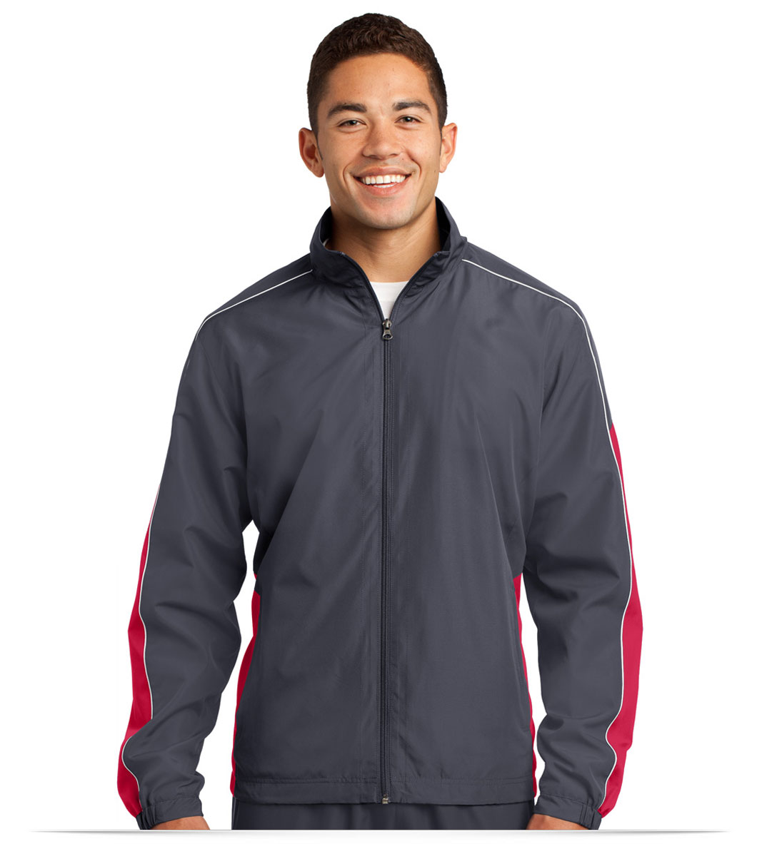 Embroidered Sport-Tek Piped Colorblock Wind Jacket