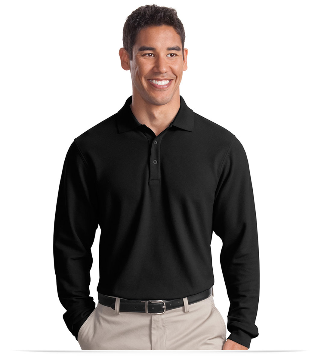 Personalized Port Authority Long Sleeve EZCotton Pique Polo