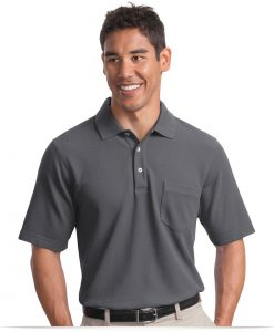 Customize Logo Port Authority EZCotton Pique Pocket Polo
