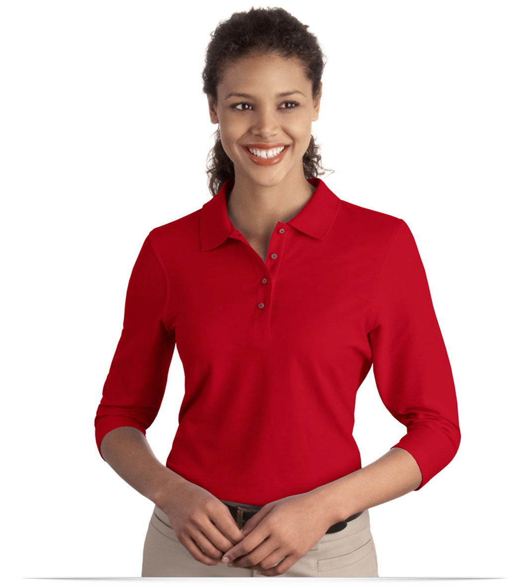 Customize Port Authority Ladies Silk Touch 3/4-Sleeve Polo