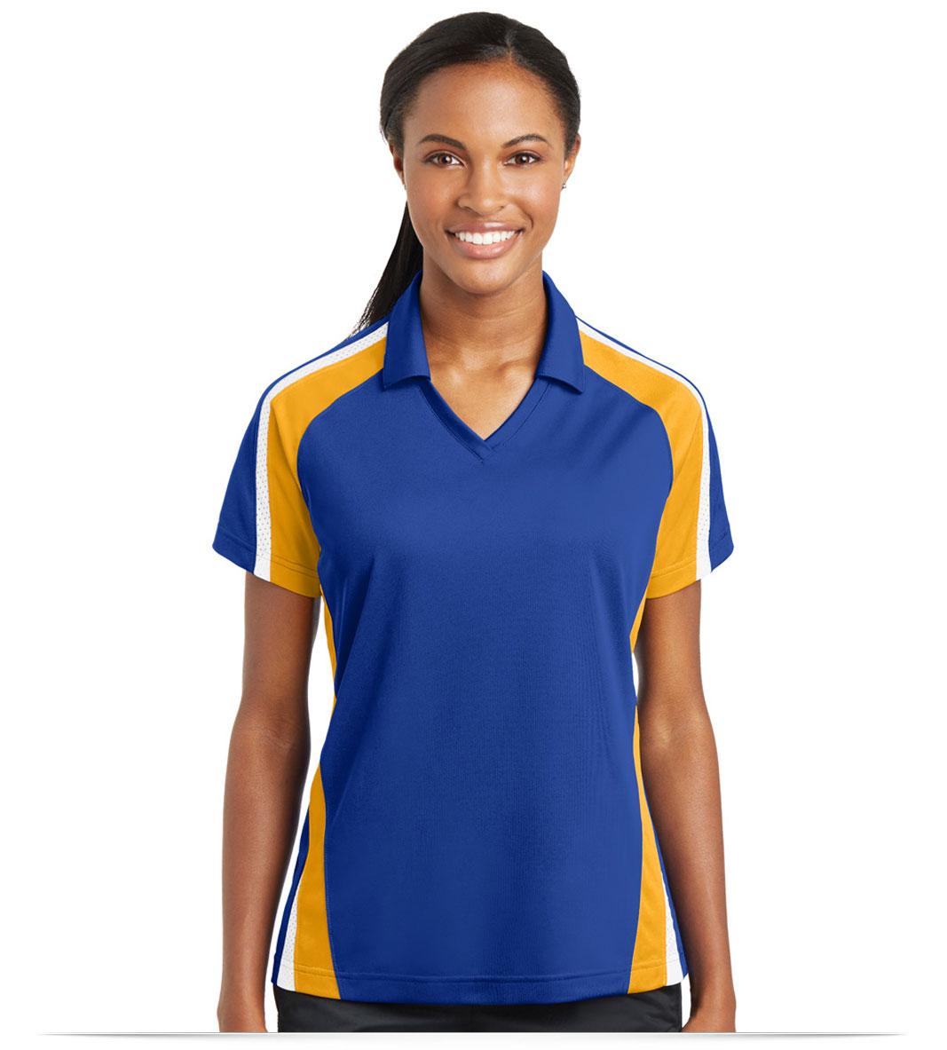 Custom Logo Sport Tek Ladies Tricolor Microp Sport Wick Polo